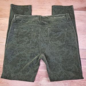 Active USA | Moss Green Velvety Stretch Lace Pants
